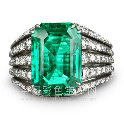 祖母绿,Emerald,戒指,钻石,天然,哥伦比亚,中国彩色宝石网