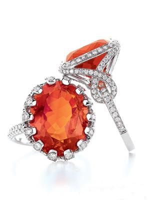Tiffany & Co.橙色火欧泊戒指